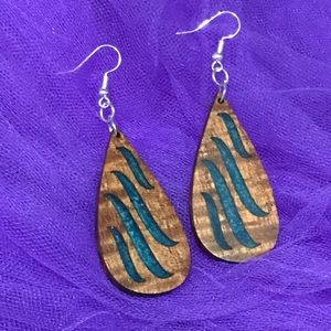 Hawaiian made Koa wood earrings